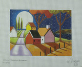 Hand-Painted Needlepoint Canvas - Cathy Horvath-Buchanan - M-1690 - Moon Over Roadway