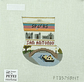 Hand-Painted Needlepoint Canvas - Petei - PT357SANT - San Antonio Mini-Stocking