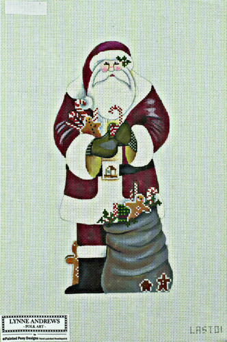 Hand-Painted Needlepoint Canvas - Lynne Andrews - LAST01 - Santa Claus