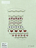 Hand-Painted Needlepoint Canvas - Petei - PT345 - Pattern Mini-Stocking