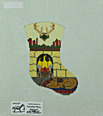 Hand-Painted Needlepoint Canvas - Needle Graphics - NG-TNBC02 - Cozy Fireplace Mini-Stocking