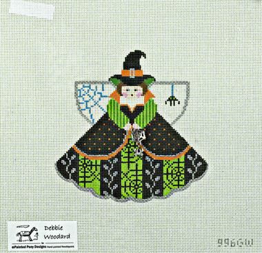 Hand-Painted Needlepoint Canvas - Debbie Woodward - 996GW - Witch and Spider Ornament