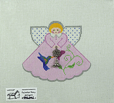 Hand-Painted Needlepoint Canvas - Painted Pony - 996FN - Angel with Bird and Flower