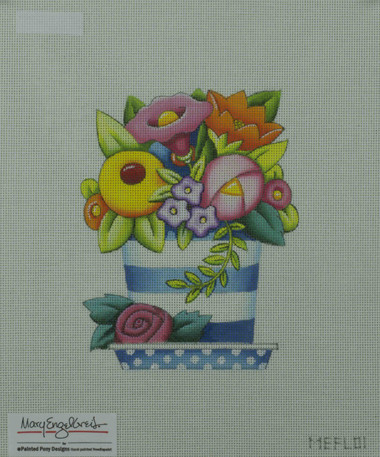 Hand-Painted Needlepoint Canvas - Mary Engelbreit - MEFL01 - Little Flower Pot