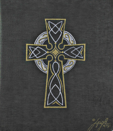 Hand-Painted Needlepoint Canvas - Leigh Designs - 4751B - Celtic Cross
