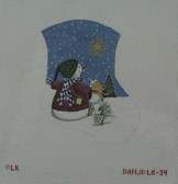 Hand-Painted Needlepoint Canvas - Danji Designs - LK-34 - Snow People and Shining Star Mini Sock