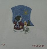 Hand-Painted Needlepoint Canvas - Danji Designs - LK-34 - Snow People and Shining Star Mini Sock