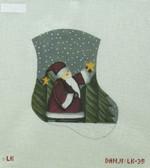 Hand-Painted Needlepoint Canvas - Danji Designs - LK-35 - Santa and Star Mini Sock