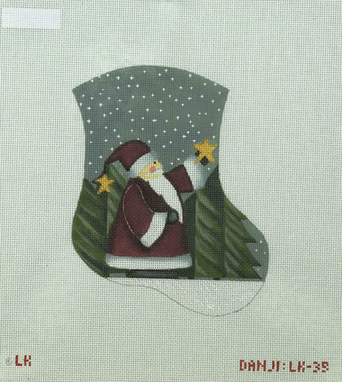 Hand-Painted Needlepoint Canvas - Danji Designs - LK-35 - Santa and Star Mini Sock