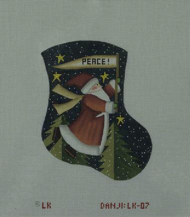 Hand-Painted Needlepoint Canvas - Danji Designs - LK-07 - Peace Santa