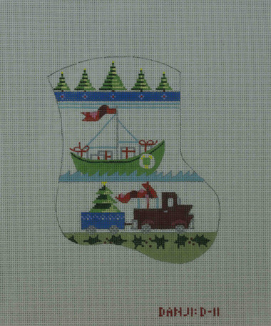 Hand-Painted Needlepoint Canvas - Danji Designs - D-11 - Boy's Stocking (sailboat-truck)