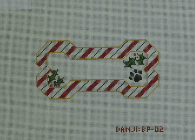 Hand-Painted Needlepoint Canvas - Danji Designs - BP-02 - Candy Cane Bone Ornament