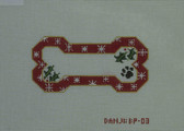 Hand-Painted Needlepoint Canvas - Danji Designs - BP-03 - Red Snow Flake Bone Ornament