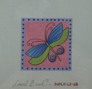 Hand-Painted Needlepoint Canvas - Danji Designs - LB-68 - Purple Dragonfly