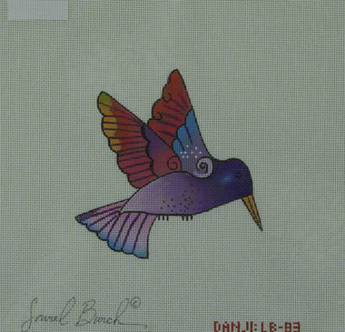 Hand-Painted Needlepoint Canvas - Danji Designs - LB-83 - Purple Hummingbird