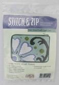 Stitch and Zip Needlepoint Kit – SZ200 – White Heart Floral Coin Purse-Credit Card Case (1215)