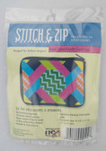 Stitch and Zip Needlepoint Kit – SZ194 – Hexagons and Ribbons Coin Purse-Credit Card Case