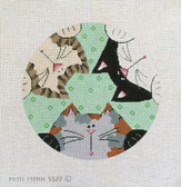 Hand-Painted Needlepoint Canvas - Patti Mann - 5522 - 3 Curious Kitties
