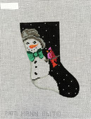 Hand-Painted Needlepoint Canvas - Patti Mann - 11617 - Snowman and cardinal