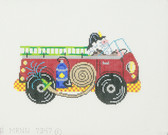 Hand-Painted Needlepoint Canvas - 7347 - Patti Mann - Santa Firetruck