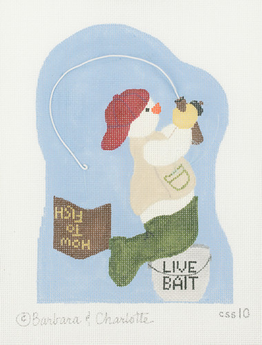 Hand-Painted Needlepoint Canvas - CSS10 - Barbara and Charlotte - Live Bait