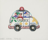 Hand-Painted Needlepoint Canvas - 7346 - Patti Mann - Police Car Santa