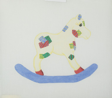 Hand-Painted Needlepoint Canvas – Patched Rocking Horse