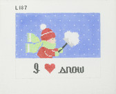 Hand-Painted Needlepoint Canvas - L187 - I Love Snow