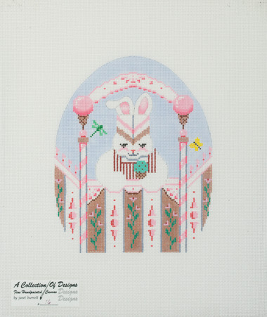 Hand-Painted Needlepoint Canvas - 16 - Janet Burnett - Easter Bunny