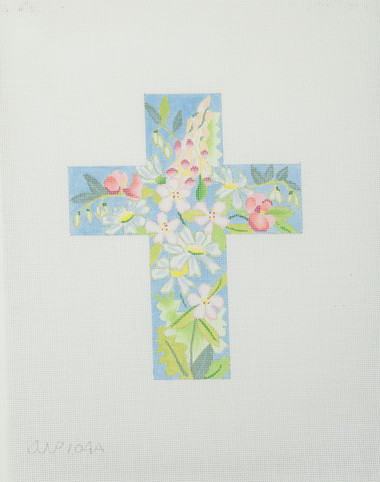 Hand-Painted Needlepoint Canvas - 104A – Spring Cross