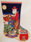 Hand-Painted Needlepoint Canvas - Nenah Stone - CH83 - Longhorn Santa Stocking