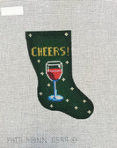 Hand-Painted Needlepoint Canvas - Patti Mann - 11599 - Mini Sock CHEERS