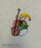 Hand-Painted Needlepoint Canvas - Patti Mann - 7518 – Ornament Snowman and bass fiddle