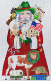 Hand-Painted Needlepoint Canvas – Amanda Lawford – 7066 – Texas Santa
