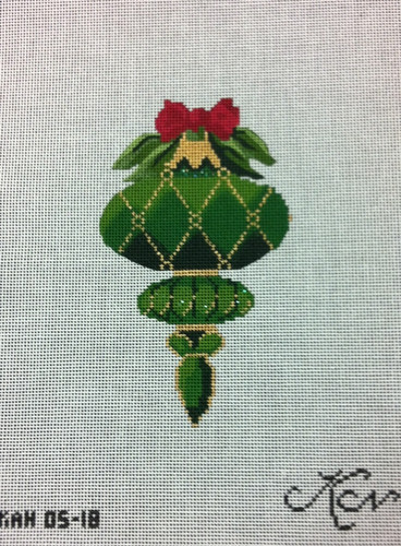 Kelly Clark Needlepoint Canvas - May Emerald Ornament - KAH 05-18