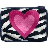 Stitch and Zip Kids Needlepoint Kit – SZ8104 Zebra Heart Coin Case 10M