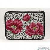 Stitch and Zip Needlepoint Kit – SZ575 - Poppies on Scroll Cosmetic Purse