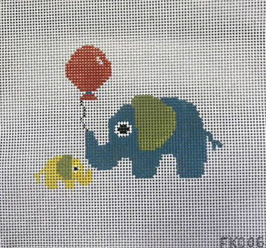 Elephant Momma and Baby Kit. Includes: Needle, threader, and 3-ply Persian Wool to complete the Momma and Baby. Background Yarn not included.