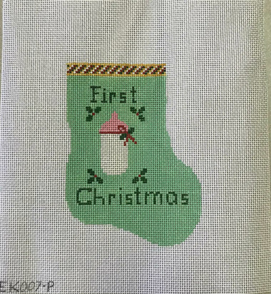 Baby's First Christmas mini stocking. Plenty of space for the Birth Year at the bottom and  Baby's name at the top.