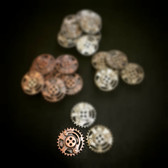 Dill Buttons Copper steampunk button with 4 holes  23mm