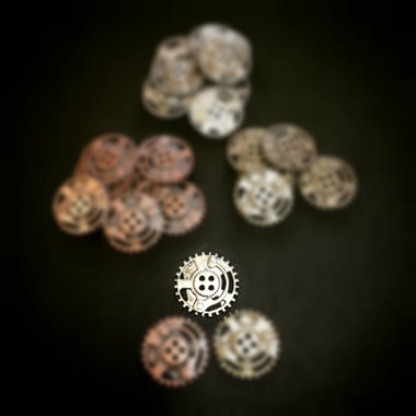 Dill Buttons Dull Silver Steampunk Button with 4 holes 23mm
