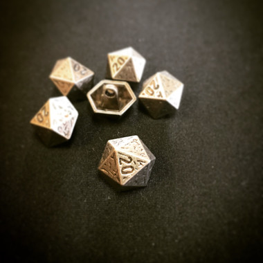 Dill Buttons Silver Decahedron Button with Shank 20 MM