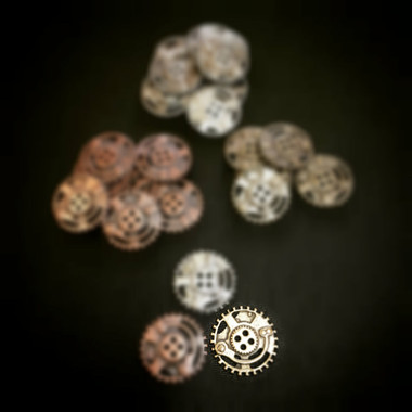 Dill Buttons Antique Brass steampunk button with 4 holes 23mm