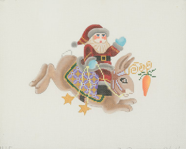 Hand-Painted Needlepoint Canvas - Brenda Stofft - B-145 - Santa on Brown Rabbit