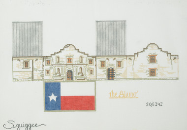 Hand-Painted Needlepoint Canvas - Squiggee - SQ5342 - The Alamo House