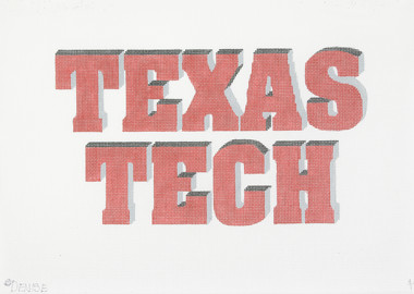 Hand-Painted Needlepoint Canvas - Denise DeRusha - 449 - Texas Tech Shadow Letters