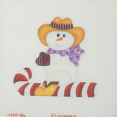 Hand-Painted Needlepoint Canvas - Gimmies - XMA-186 - Cowboy Snowman