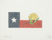 Hand-Painted Needlepoint Canvas - Melissa Shirley Designs - MPA-106 - Texas Flag and Yellow Rose Insert