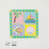 Hand-Painted Needlepoint Canvas - Painted Pony - 885AB - Summer Squares