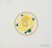 Hand-Painted Needlepoint Canvas - Raymond Crawford - HO-592 - Yellow Rose Circle